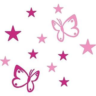 AnoLetterFoil B4S rosa pink Selbstklebende Deko Elemente - Schmetterlinge und Sterne - Aufkleber für Aussen- und Innenbereich, Türaufkleber, Autoaufkleber, Beschriftung, Namen, Kindernamen, Kinderzimmer, Sticker auch als Wandtattoo, Fensteraufkleber und Türen