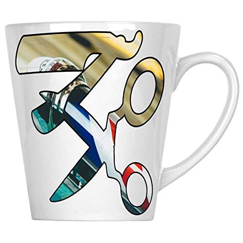 (Friseurladen Schere und Rasierer 34 cl Latte Tasse u571L)