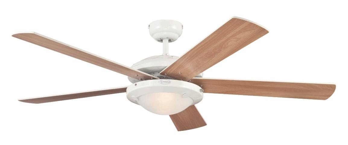 41TzQp0mU2L - Westinghouse Ceiling Fans 78017 Comet One-Light 132 cm Five Indoor Ceiling Fan, Frosted Glass, White Finish with…