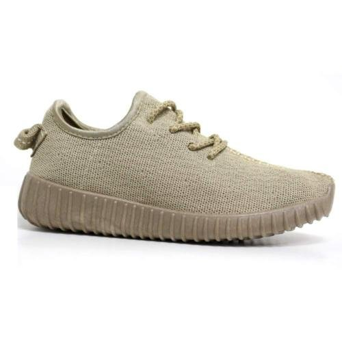 new-womens-ladies-girls-running-yeezy-inspired-textured-trainers-lace-up-flats-beige-shoes-size-4