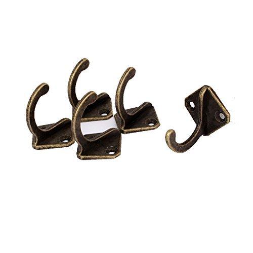 Single Prong Hook (DealMux 28mm x 28mm Robe Hat Coat Wall Hanging Hook Single Prong Hanger Bronze Tone 5PCS)