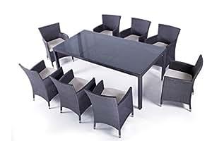 SOLEIL JARDIN - Table et chaises en résine tressée 8 places MYKONOS gris