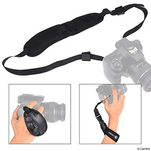 CamKix 3-in-1-Gurt-Kit für DSLR-Kameras und Kompaktkameras - Hand-, Handgelenks- und Nackenschlaufe - Komfortable Polsterung - Verstellbare Passform - Stark, langlebig und sicher (Nikon-gurt-clip)
