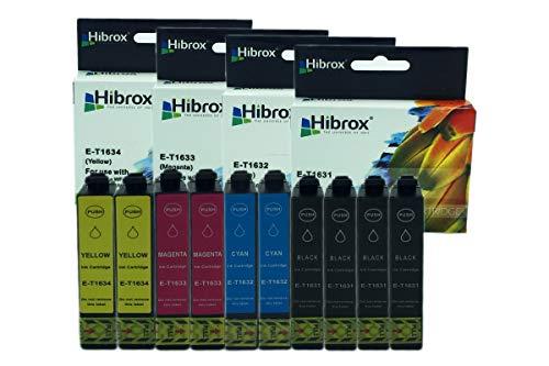 Hibrox 10 Compatibile Inchiostro Cartuccia Sostituzione Per Epson 4x T1631 Noire 2x T1632 Cyan 2x T1633 Magenta 2x T1634 Per Epson ACULASER 2650 WORKFORCE 2010 W 2510 WF 2520 NF 2530 WF 2540 WF 2630 2