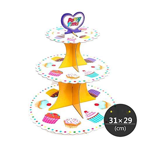 Baoffs-hosta Lebensmittel Display Cupcake Stand 3-Tie Unique Party - Babyparty Cupcake Stand-Tiered Tortenständer - Dessert Oder Cupcake für Geburtstag Hochzeit Festival Dekoration Tiered Dessert Server