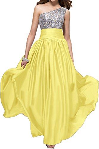 Gorgeous Bride Elegant Ein-Traeger Empire Satin Paillette Lang Abendkleider Cocktailkleid Ballkleider Daffodil