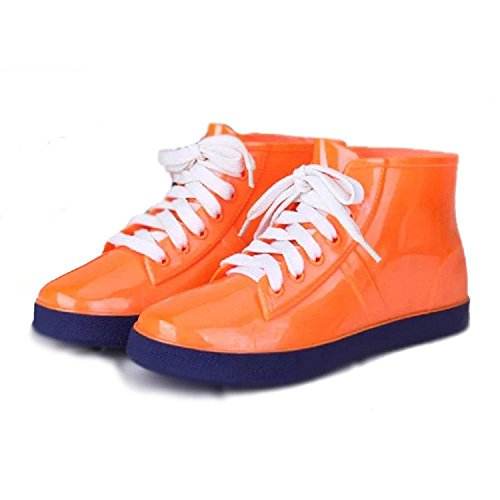 Korean version Ms fashion Rain boots Tube height 11.3cm Orange