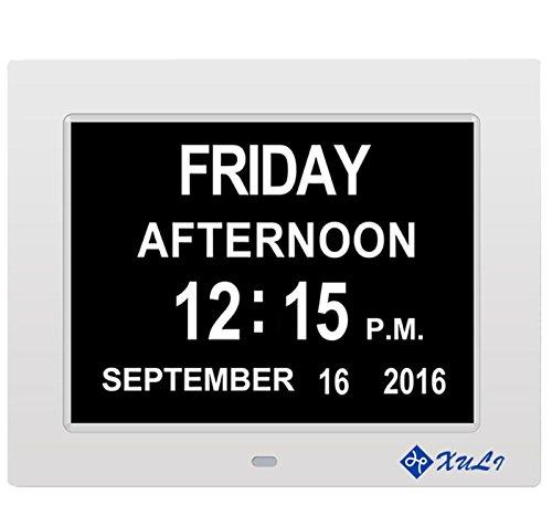 Digitaler Kalender Tag Uhr mit Nicht Abkürzungen Tag & Monat - Aufgerüstet - 8 Zoll XULI® Digital Kalender Wecker- (weiß) (Datum Medikament)