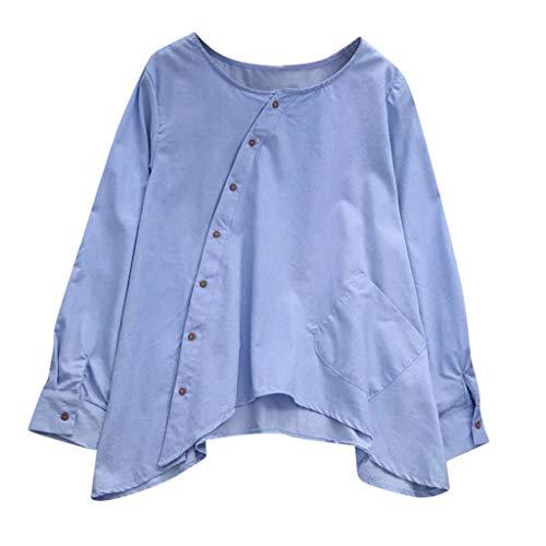 Honestyi Frauen Damen Knopf Taschen Revers Lange Hülsen langes Hemd Bluse Damen Button Pocket Revers Langarm Shirt(Hellblau,L)