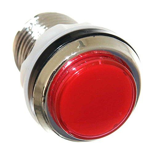 Red Taster (1x 33mm Taster Spielautomat Button ROT beleuchtet Rund Taster Mikrotaster Red mit LED Bulb Jukebox Pinball Neu Joy-Button)