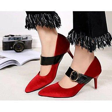 Talloni delle donne Primavera Comfort PU esterna tacco a spillo Lace-up Nero Verde Rosso Grigio Walking Black
