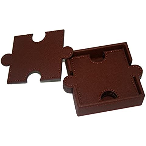 WOOSAL 6 Pezzi a due piani Coasters Puzzle in pelle