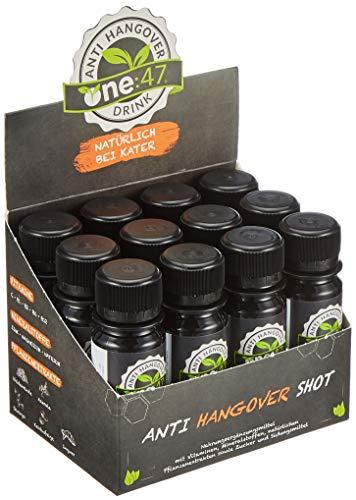 one:47 Anti-Hangover-Drink | 12 Shots | NATÜRLICH BEI KATER | hochkonzentriert & vegan | Patentierte Formel | mit Elektrolyten, Vitaminen & Pflanzenextrakten | Anti Hangover Shot |