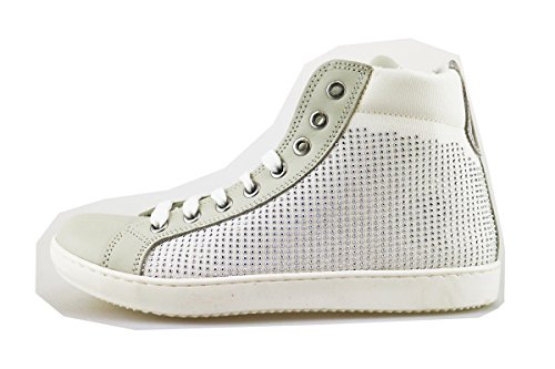 MELANIA sneakers bambina bianco pelle tessuto strass AG392