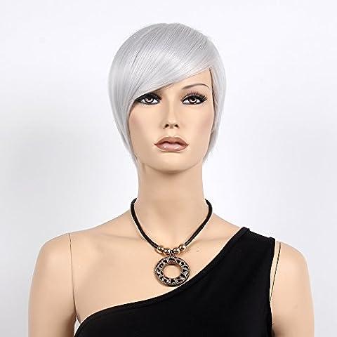 stfantasy kurz Perücken für Frauen Kunsthaar Gerade Hitzebeständig 30,5cm 78g mit Pony Wig peluca frei Hair Net + Clips, silber grau