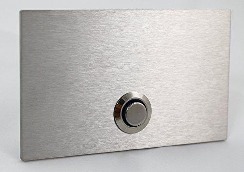 Preisvergleich Produktbild Thorwa® Design Edelstahl Klingelplatte Türklingel Klingeltaster Klingel - 10cm x 6cm (B x H) - individuell beschriftet mit LED Leuchtring - rechteckig (silber | fein gebürstet)