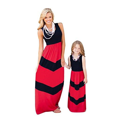 ESHOO Mère et Fille Boheme Robe de Famille Maxi Rayures Taille Haute En Voyage Noir