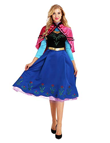 dPois Damen Prinzessin Kleid Märchen Kleid + Umhang Kostüm Frauen Kostüm Set Weihnachten Halloween Karneval Fasching Party Cosplay Verkleidung S-XXL Colorful Medium (Womens Elsa Kostüm)