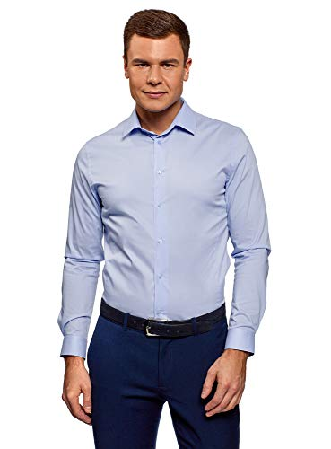 Oodji ultra uomo camicia basic con maniche lunghe, blu, 42cm / it 50 / eu 42 / l