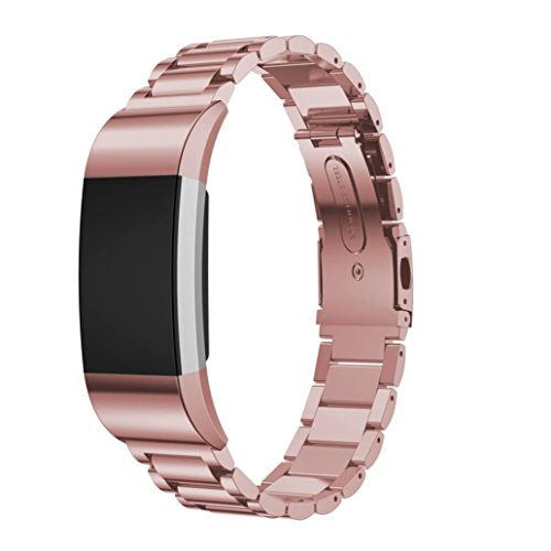 OVERDOSE Fitbit Charge 2 Armband, Milanese Edelstahl Uhrenarmband-Bügel-Armband + HD Film für Fitbit Charge 2 (Rosa2-HD Film Nicht inbegriffen)