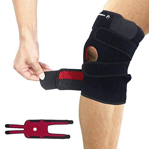 Mounchain Kniebandag - Atmungsaktive Knieschoner - Hochwertige Knieorthese l - Verstellbare Kniestützer mit Klettverschluss und Patellaöffnung