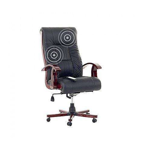 Bürostuhl schwarz Leder Massagefunktion PRESTIGE