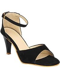 GLITZY GALZ Black Ankle Strap Buckled Stilettos