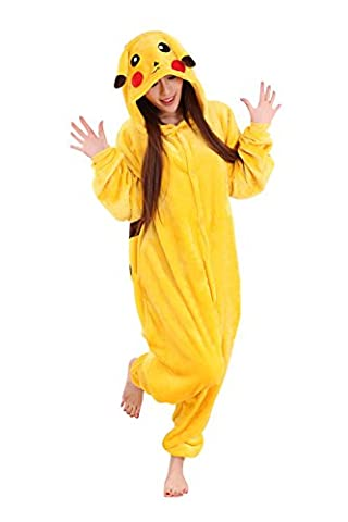 Babyonline® Jumpsuit Pikachu Cartoon Fasching Halloween Kostüm Sleepsuit Cosplay Fleece-Overall Pyjama Schlafanzug Erwachsene Unisex Kigurumi Tier Onesize