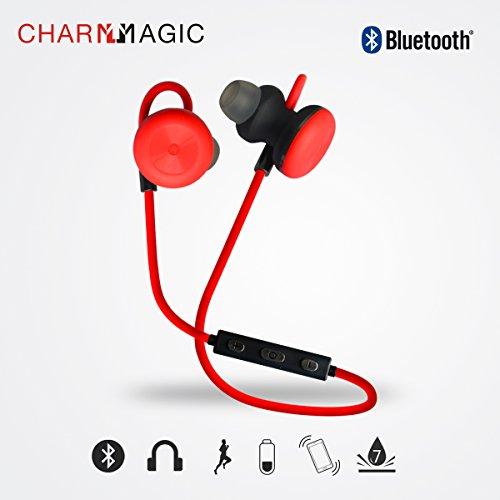 Charm & Magic Bluetooth Cuffia senza fili, Smart Magnetica Audio con Bassi Auricolari con Microfono e Controllo Volume, Premium, CVC Cancellazione del Rumore 6.0, Comoda, Sicura, Sweatproof (Rosso))