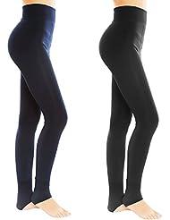Dos Leggings Mujer para Otoño Frío e Invierno, Pantalones Elásticas Calientes del Invierno de las mujeres de la Cintura alta con Suave y Cómodo Terciopelo, Una Talla Legging para Todos - Negro+ Oliva