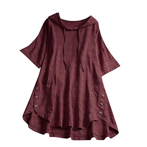CRRE Damen Große Größe T-Shirt Baumwolle Leinen T Shirt Oversized Knöpfe Oberteile Hoodie Frauen Plaid Button Mit Kapuze High Low Plus Size Bluse mit Taschen Bluse - Trenchcoat Plaid