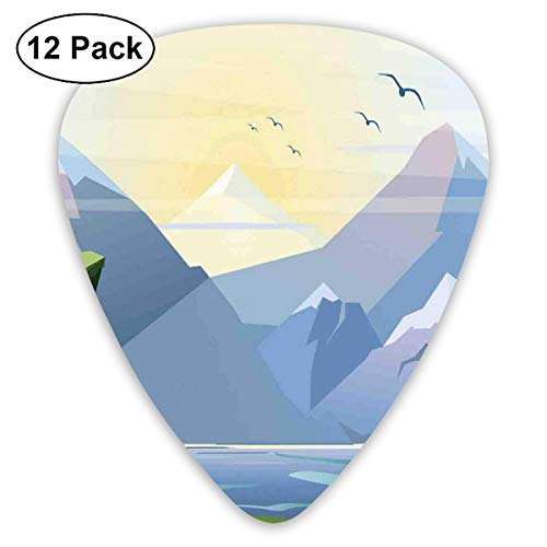 Guitar Picks - Abstract Art Colorful Designs,Nature Illustration With Grass Lake Forest Mountains And Hills Outdoor Activity,Unique Guitar Gift,For Bass Electric & Acoustic Guitars-12 Pack - Lake Grass
