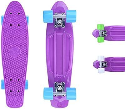City ridertm Skateboard Lila de Original Mini Cruiser–22Pulgadas/57cm–Retro Skateboards para niños y niñas