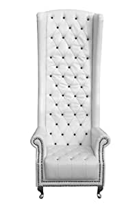 Premier Housewares Leather Effect High Back Chair with Diamantes - 190 x 80 x 80 cm - White