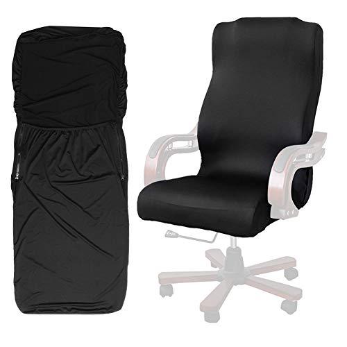 ANSUG Computer Büro Sitzbezug, Modern Style Stretch Rotierenden Stuhl Schutz Abnehmbare Waschbar Sessel Schonbezug (Schwarz L) - Computer Stuhl Büro