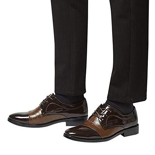 Junjie Männer Modern Classic Lace up Leder gefüttert Business Schuhe Krokodil Lederschuhe Square Heel Spitzschuh Braun Schwarz Größe Größe
