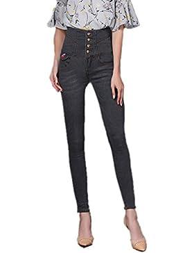 Anguang Mujer Alto Cintura Mezclilla Pantalones Flaco Montado Jeggings Pantalones