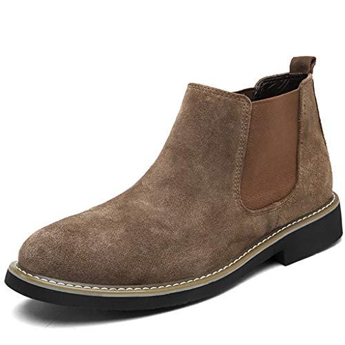 Wangxyan Männer Chelsea-Stiefel Knöchel Wildleder-Schuhe Klassischer Slip-On-Schuh Feuchtigkeitsregulierender strapazierfähiger Stiefel Freizeit Retro-Stiefel Atmungsaktiver Laufschuh,Messing,38 -