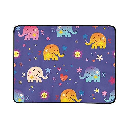 WYYWCY Nette Elefanten blüht nahtloses Muster-Muster-tragbare und Faltbare Deckenmatte 60x78 Zoll-handliche Matte für kampierenden Picknick-Strand