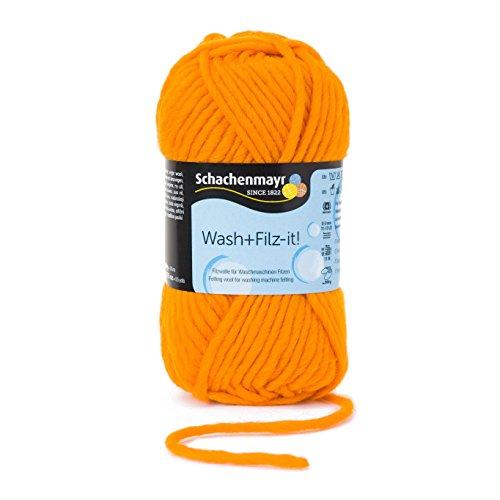 Schachenmayr Wash+Filz-it! 9812942-00037 orange Handstrickgarn, Filzgarn, Schurwolle (Orange Wolle Hut Klassischer)