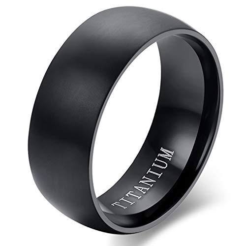 "Cupimatch Titan Ring Herren Bandring Finger Ringe Glatt mit Laser Gravur ""I Love You"" Ehering Verlobungsring Freundschaftsring Schwarz, Größe 67"
