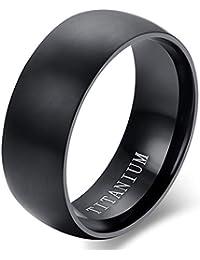 cupimatch Hombre Anillo Titanio compromiso Promessa boda boda pulido negro, tamaño a elegir