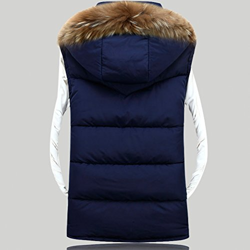 Linyuan Mode Men's Winter Zipper Button Outerwear Vest Hood Sleeveless Detachable Hat Black