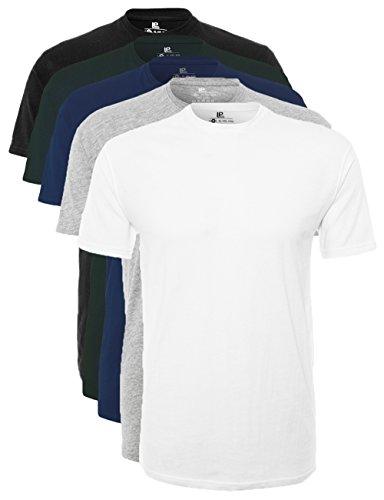 Lower East Herren T-Shirt mit Rundhalsausschnitt, 5er Pack, Mehrfarbig (Weiß/Schwarz/Grau/Blau/Grün), Small (S/s Grau Herren T-shirt)