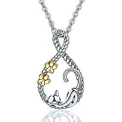 CELESTIA Schmuck 925 Sterling Silber Kätzchen Katze Halskette für Haustier-Liebhaber, Niedliche Tier Charms Anhänger mit 46CM Rolo Kette, Geschenke für Mädchen, Zweifarbig