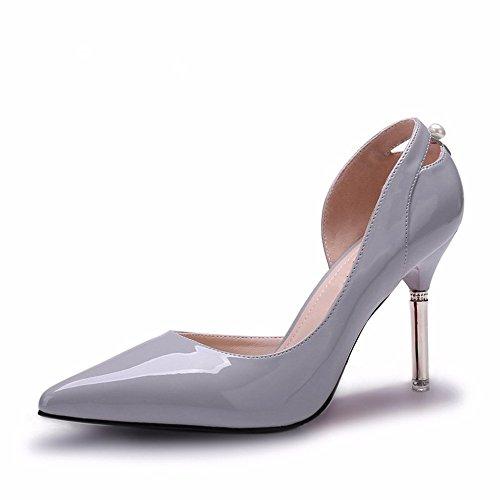 Hxvu56546 Nouvelles Chaussures À Talons Hauts Au Printemps Et À L'automne Seulement Des Chaussures De Sport Femmes Chaussures Bouche Peu Profonde Gris