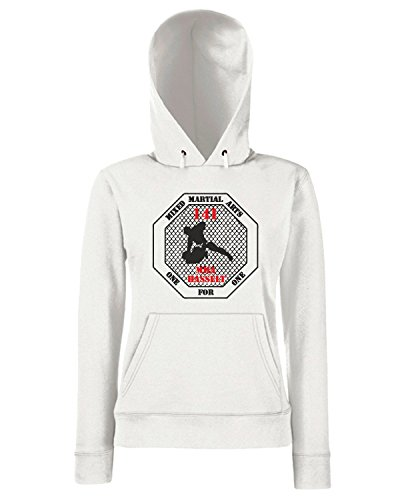 T-Shirtshock - Sweats a capuche Femme TAM0201 mma mixed martial arts hooded tshirt Blanc