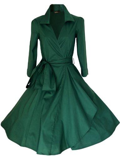 LOOK FOR THE STARS Retro Vintage Kleid Abend Party 50er Jahre Stil Rockabilly / Sommerkleid/Cocktailkleid, Größen EU 32-54 Dunkelgrün