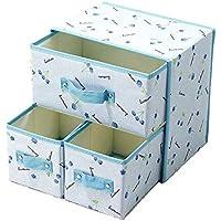 Preisvergleich für Nlj-YMS Tuch Schublade Aufbewahrungsbox Unterwäsche Aufbewahrungsbox Blau 30cmX22cm