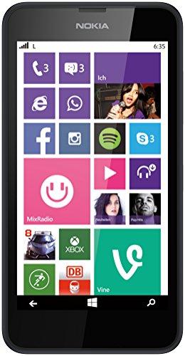 Nokia Lumia 635 Smartphone Mikro SIM (11,9 cm (4,5 Zoll) Touchscreen, 5 Megapixel Kamera, Win 8.1) Schwarz (635 Phone Windows Nokia)